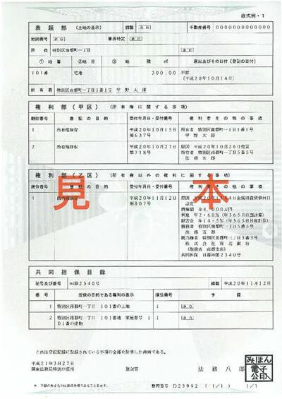 登記簿謄本(土地)