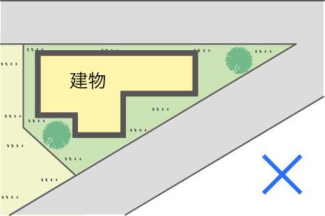 土地の形が悪い家